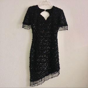 Vintage Dave & Johnny Black Sequin Dress sz 7-8